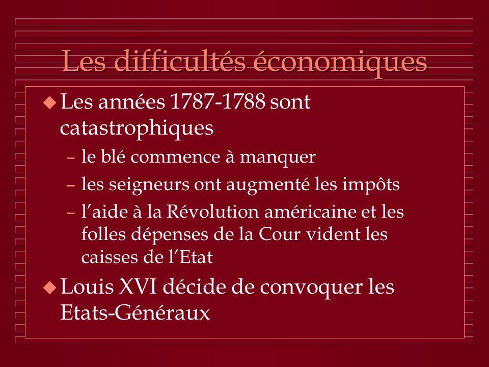 Les difficultés économiques