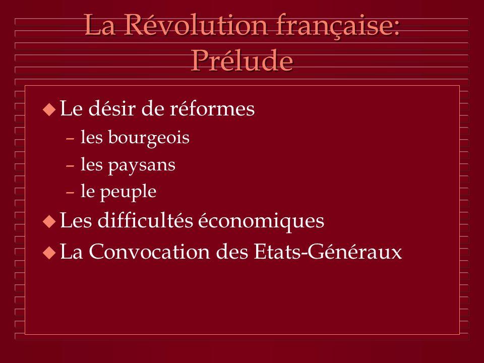 La Révolution française: Prélude
