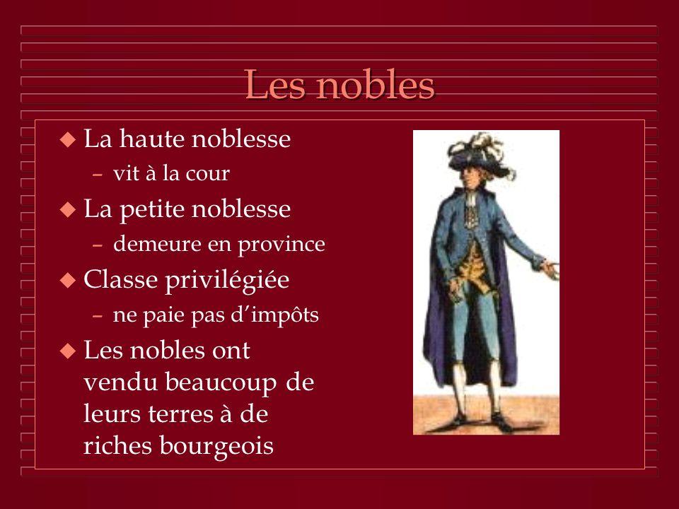Les nobles La haute noblesse La petite noblesse Classe privilégiée