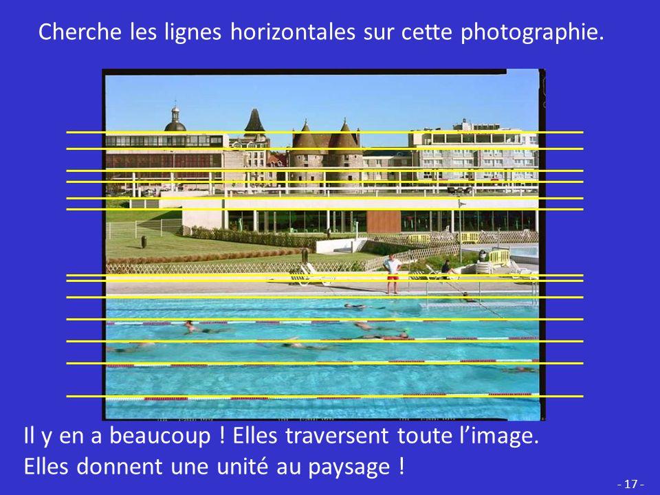 Cherche les lignes horizontales sur cette photographie.