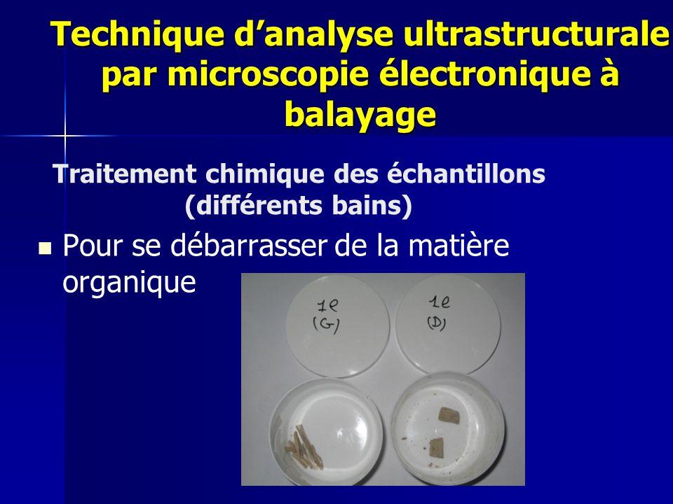 Traitement chimique des échantillons (différents bains)