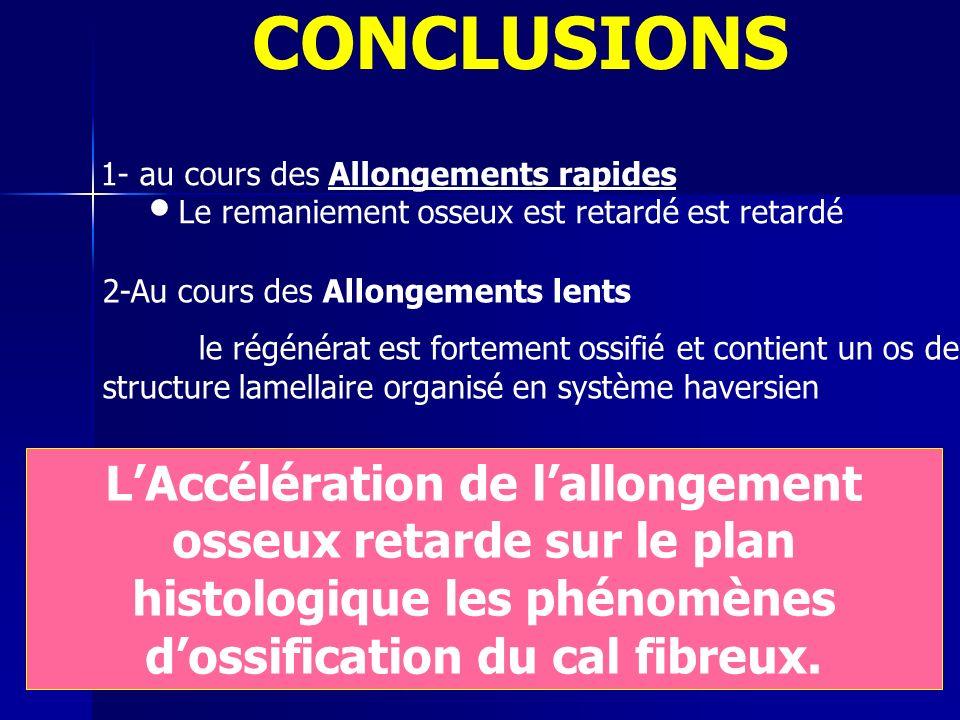 CONCLUSIONS 1- au cours des Allongements rapides. Le remaniement osseux est retardé est retardé. 2-Au cours des Allongements lents.