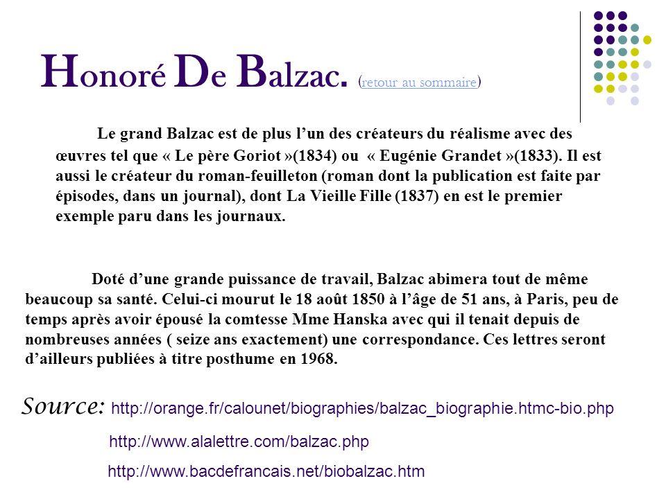Honoré De Balzac. (retour au sommaire)