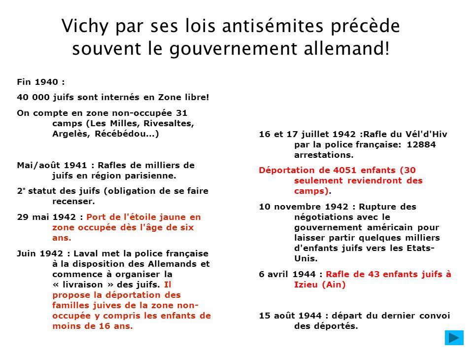 Vichy par ses lois antisémites précède souvent le gouvernement allemand!