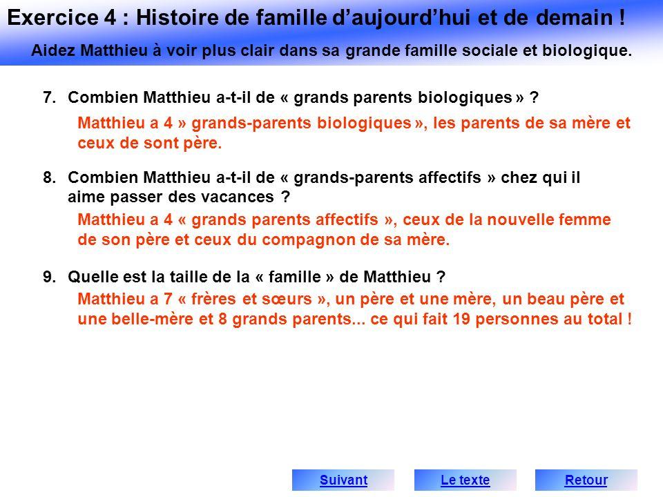 Exercice 4 : Histoire de famille d'aujourd'hui et de demain !