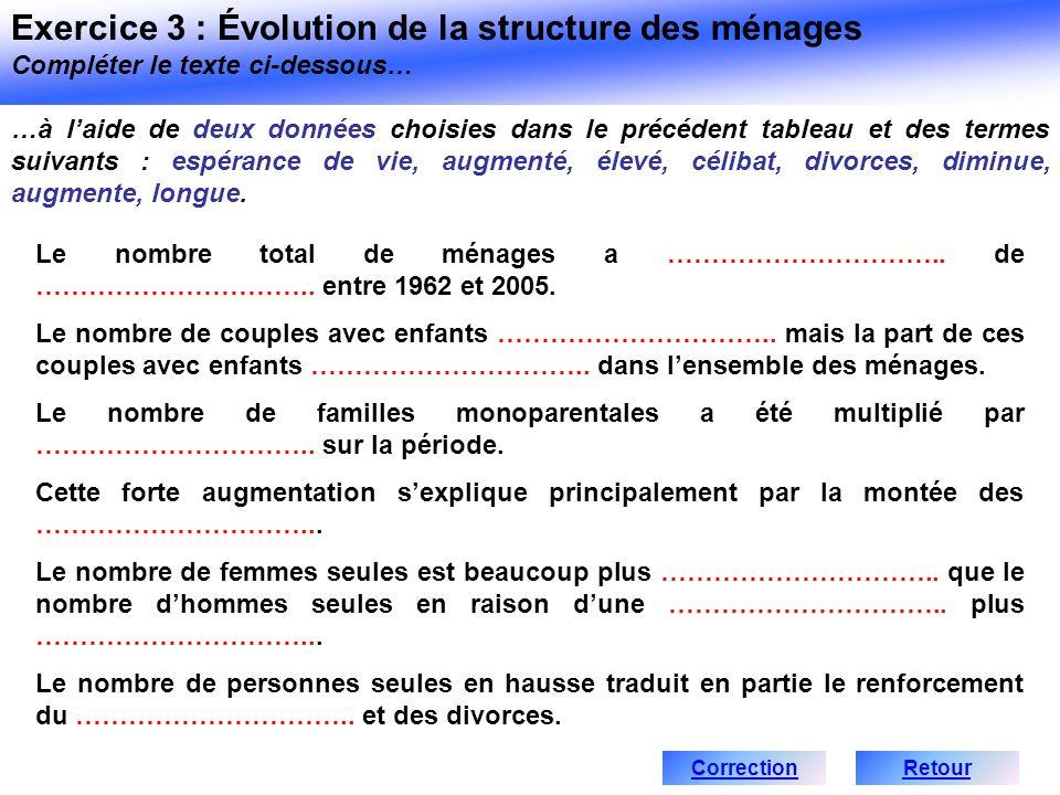 Exercice 3 : Évolution de la structure des ménages Compléter le texte ci-dessous…