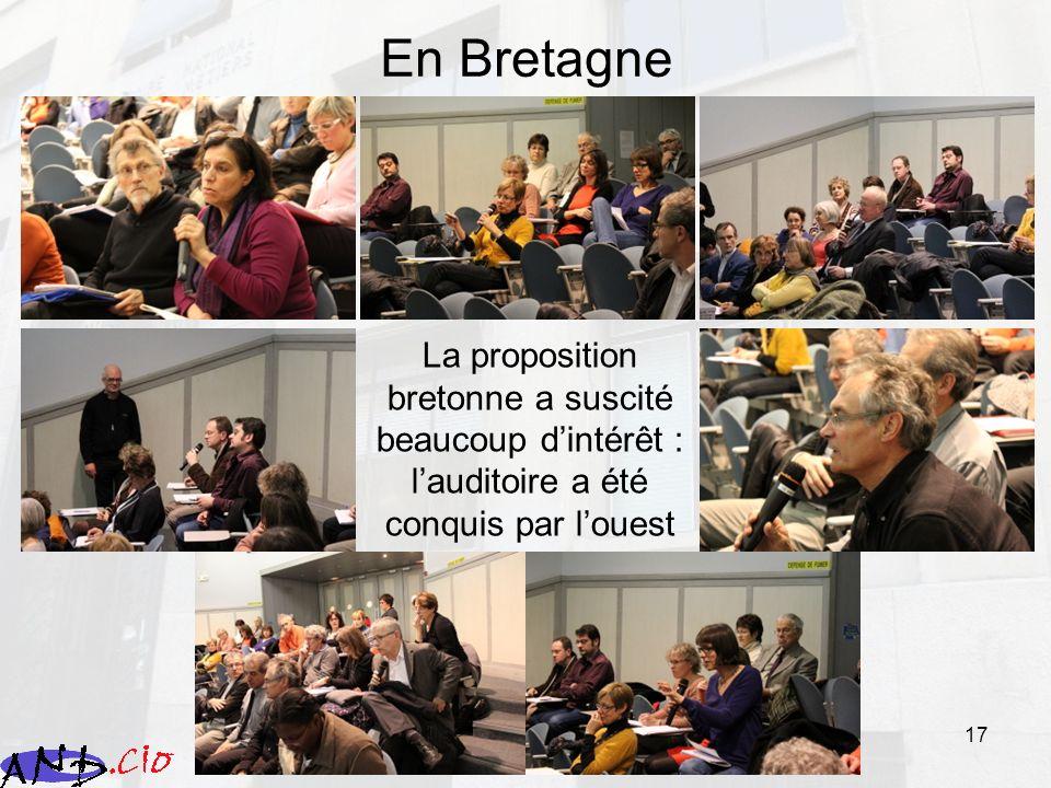 En Bretagne La proposition bretonne a suscité beaucoup d'intérêt : l'auditoire a été conquis par l'ouest.