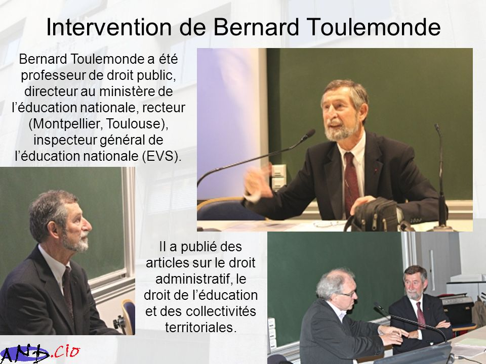Intervention de Bernard Toulemonde