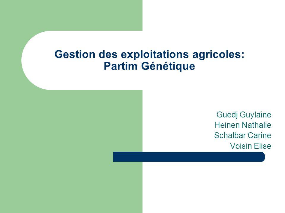 Gestion des exploitations agricoles: Partim Génétique