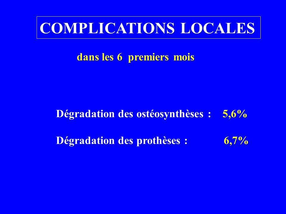 COMPLICATIONS LOCALES