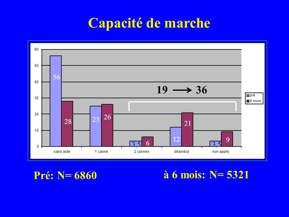 Capacité de marche 19 36 Pré: N= 6860 à 6 mois: N= 5321 56 26 25 28 21