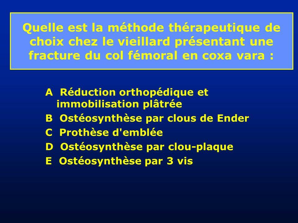 Quelle est la méthode thérapeutique de choix chez le vieillard présentant une fracture du col fémoral en coxa vara :