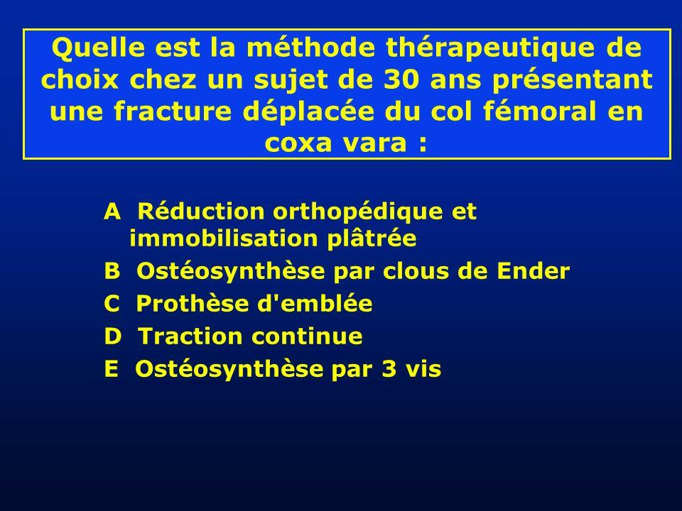 Quelle est la méthode thérapeutique de choix chez un sujet de 30 ans présentant une fracture déplacée du col fémoral en coxa vara :