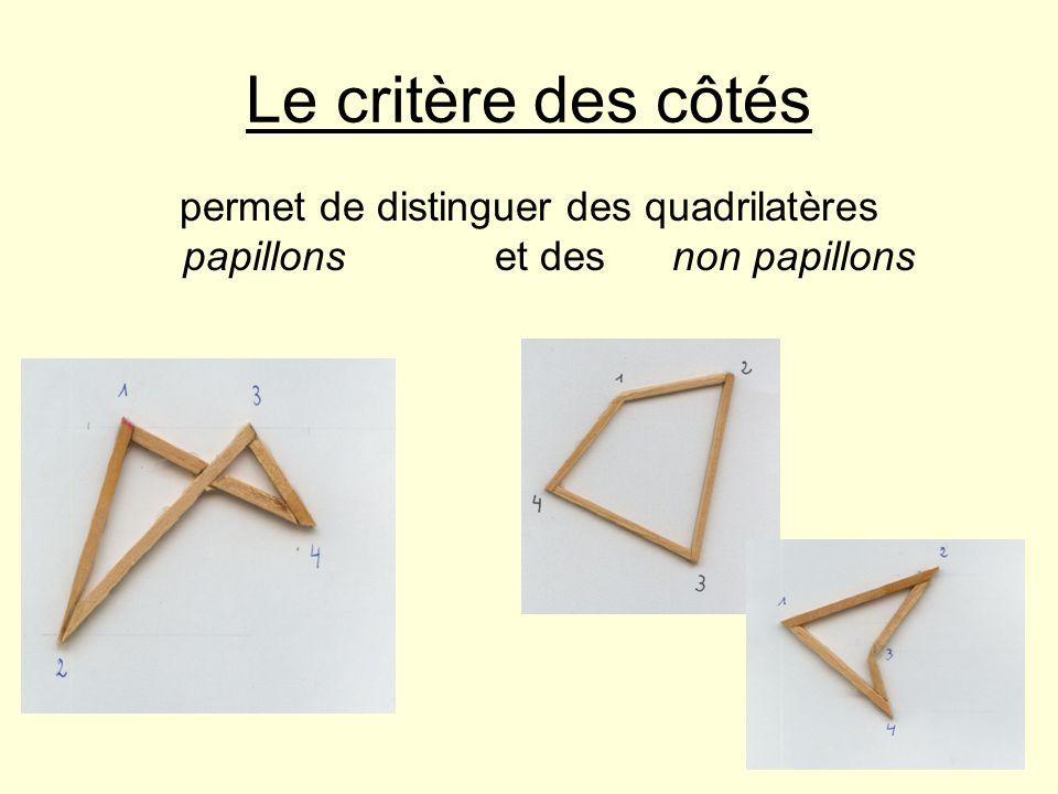 Le critère des côtés permet de distinguer des quadrilatères