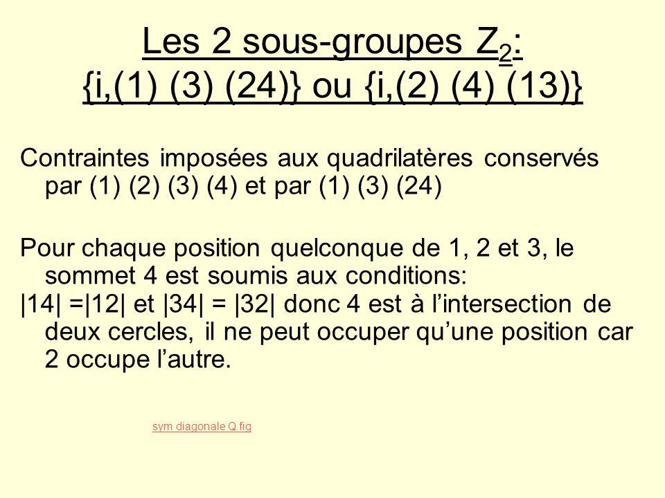 Les 2 sous-groupes Z2: {i,(1) (3) (24)} ou {i,(2) (4) (13)}