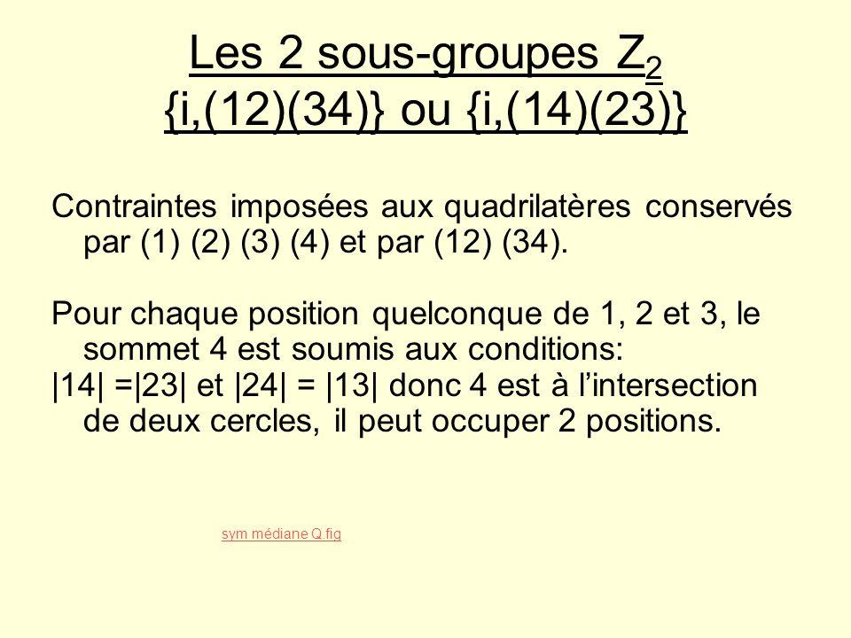 Les 2 sous-groupes Z2 {i,(12)(34)} ou {i,(14)(23)}