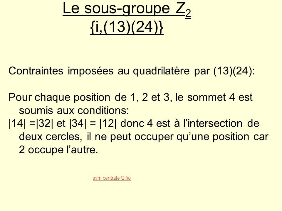 Le sous-groupe Z2 {i,(13)(24)}