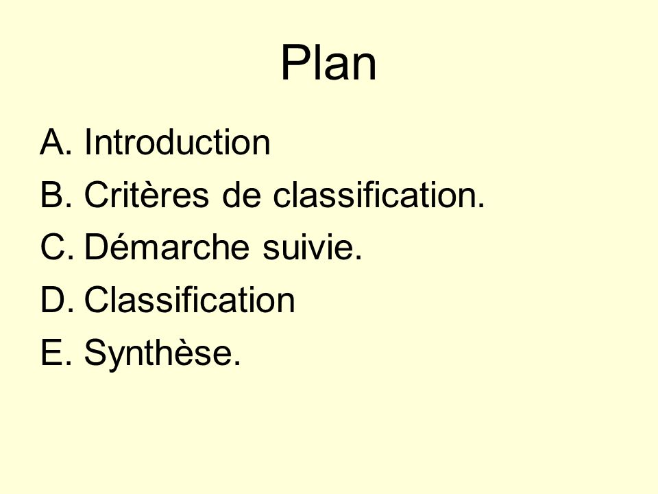 Plan Introduction Critères de classification. Démarche suivie.