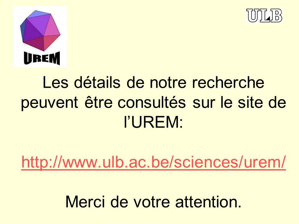 Les détails de notre recherche peuvent être consultés sur le site de l'UREM: http://www.ulb.ac.be/sciences/urem/ Merci de votre attention.