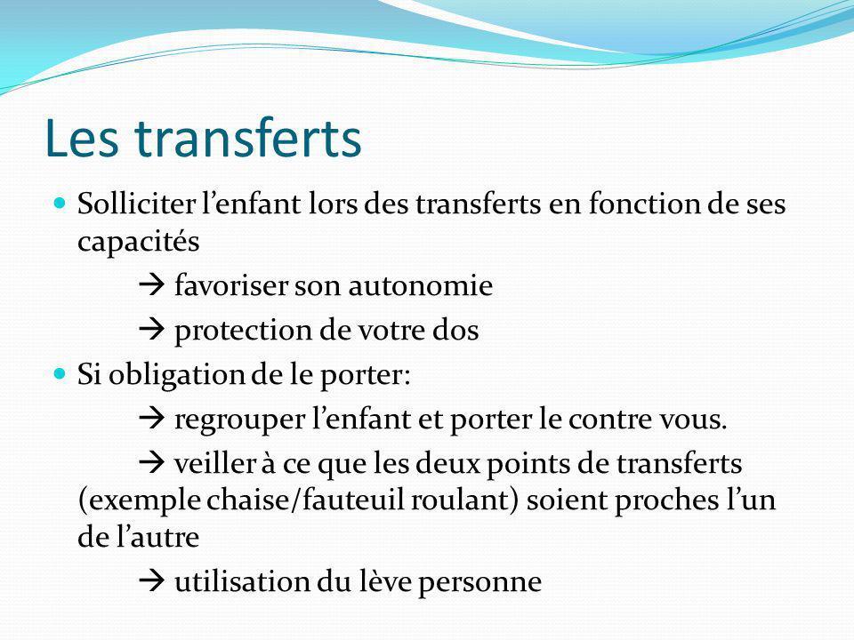 Les transferts Solliciter l'enfant lors des transferts en fonction de ses capacités.  favoriser son autonomie.