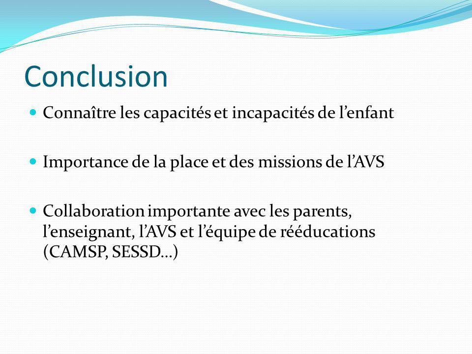 Conclusion Connaître les capacités et incapacités de l'enfant
