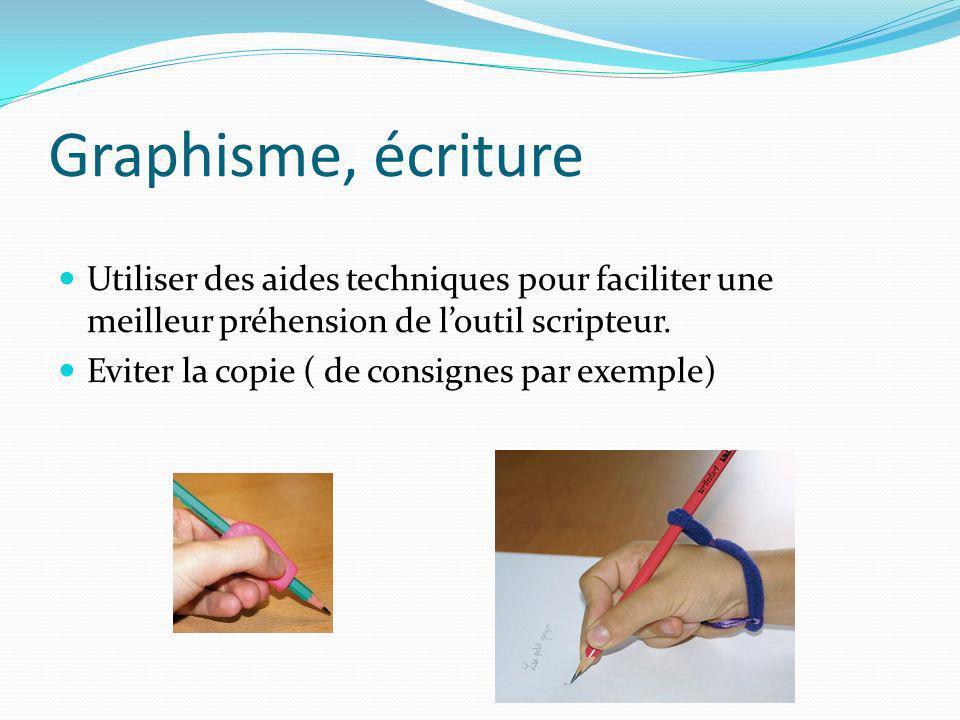 Graphisme, écriture Utiliser des aides techniques pour faciliter une meilleur préhension de l'outil scripteur.