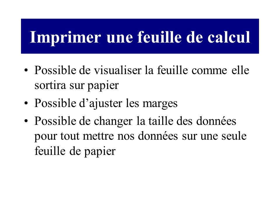 Imprimer une feuille de calcul