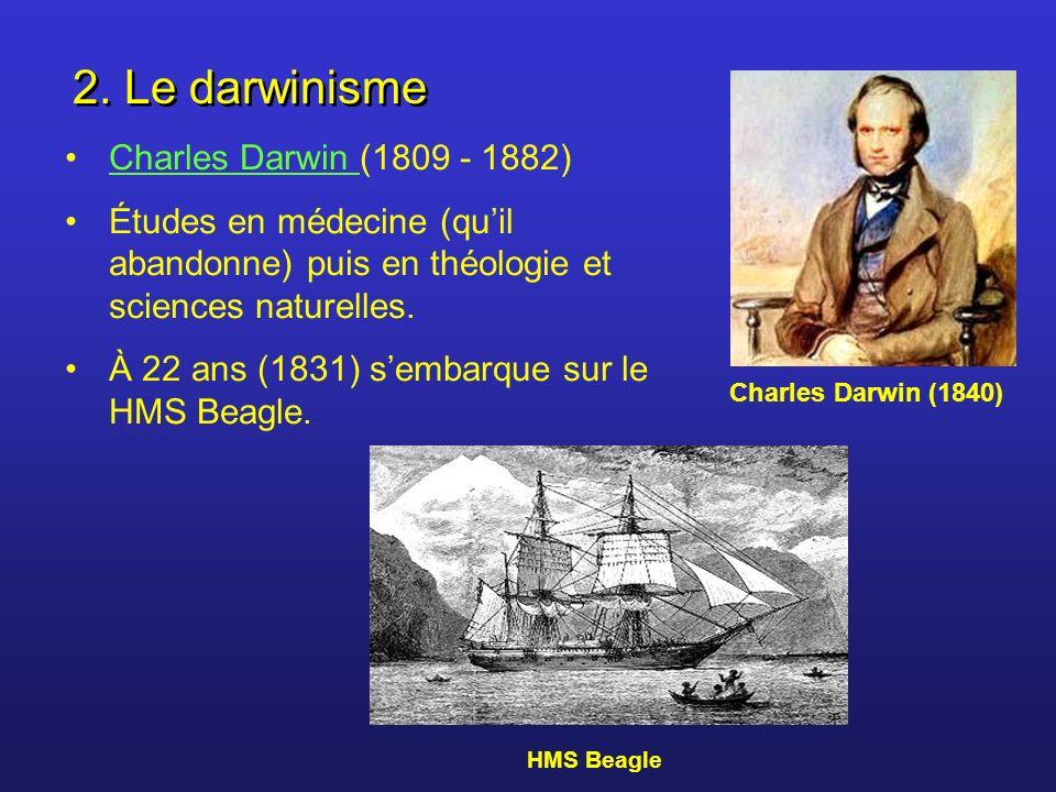 2. Le darwinisme Charles Darwin (1809 - 1882)