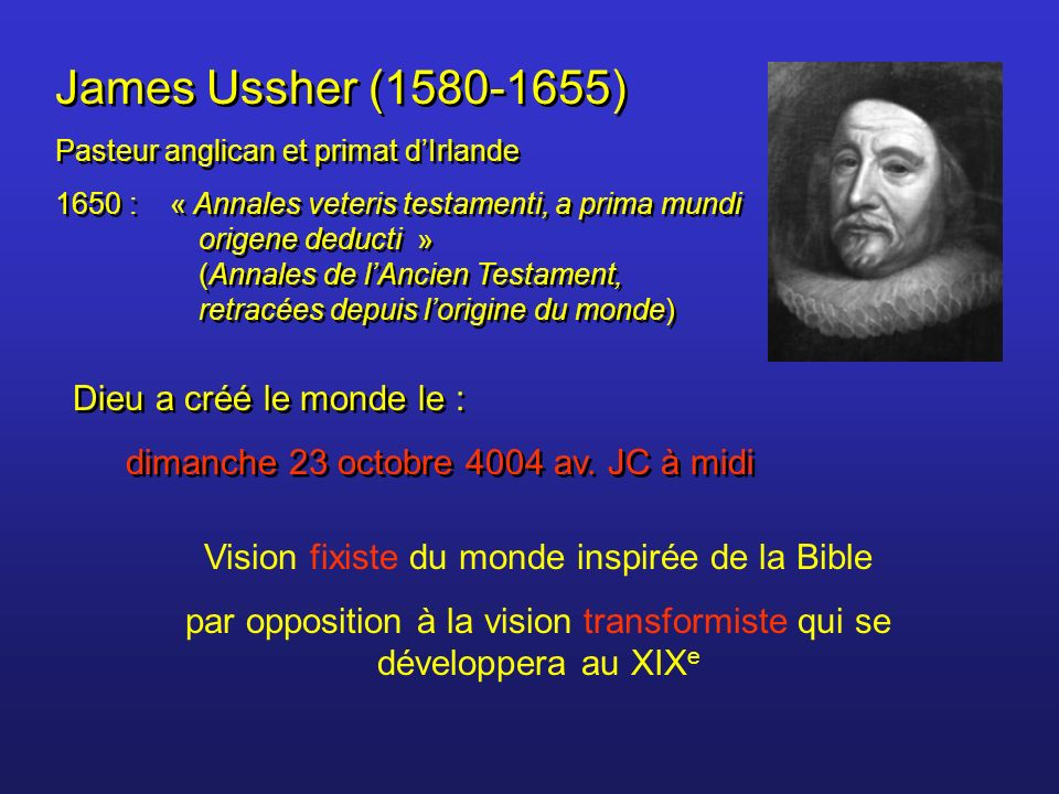 James Ussher (1580-1655) Dieu a créé le monde le :