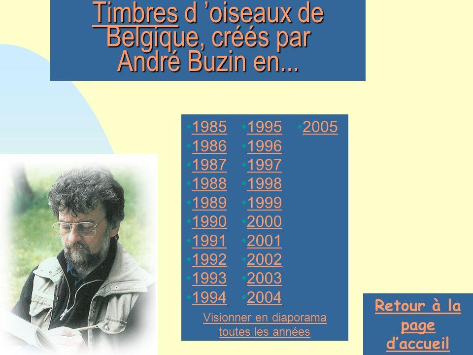 Timbres d 'oiseaux de Belgique, créés par André Buzin en...