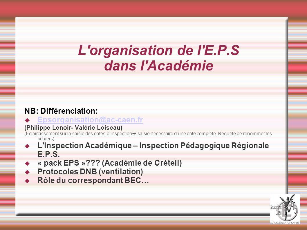 L organisation de l E.P.S dans l Académie