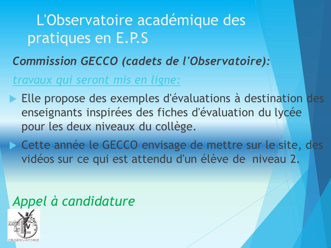L Observatoire académique des pratiques en E.P.S.