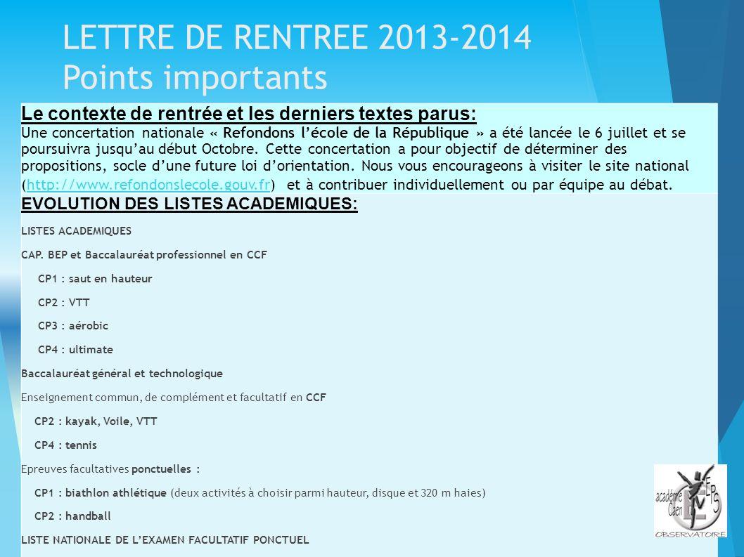 LETTRE DE RENTREE 2013-2014 Points importants