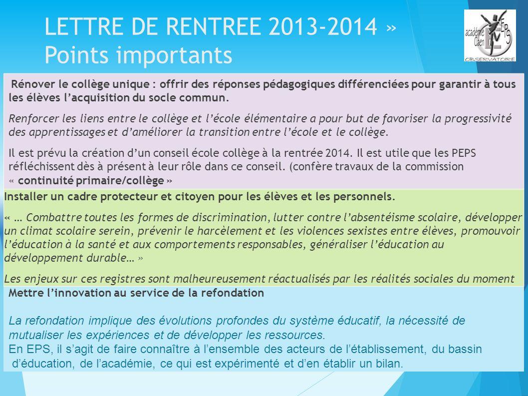 LETTRE DE RENTREE 2013-2014 » Points importants