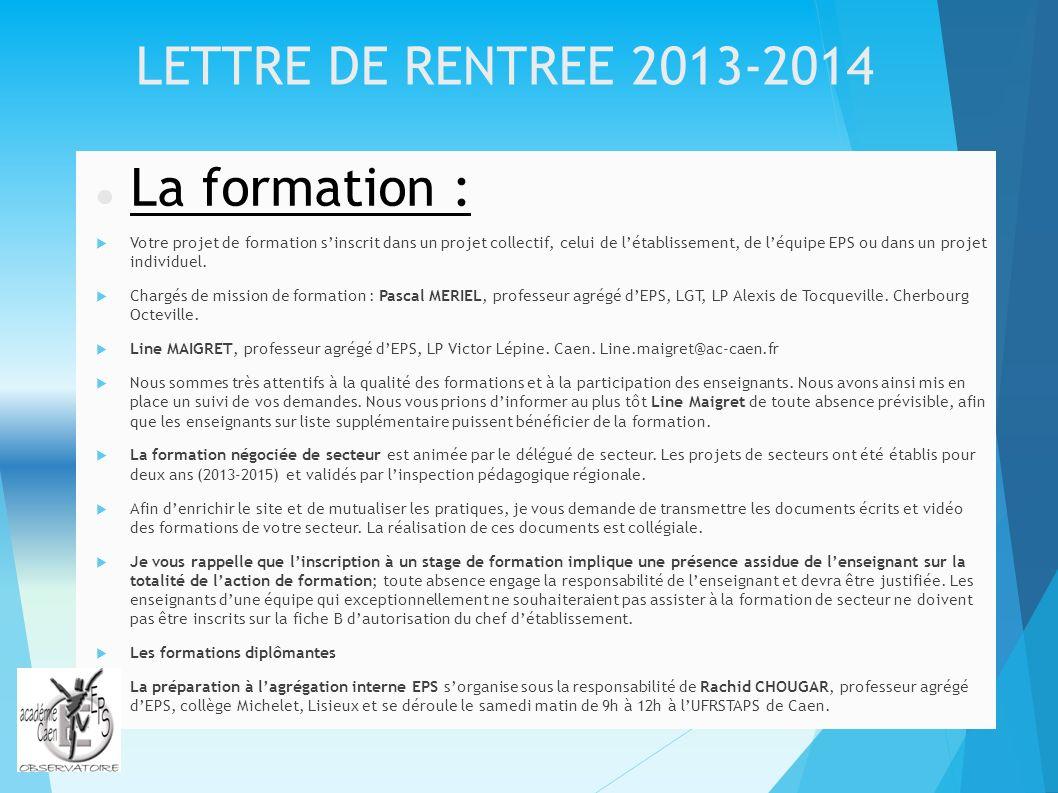 La formation : LETTRE DE RENTREE 2013-2014