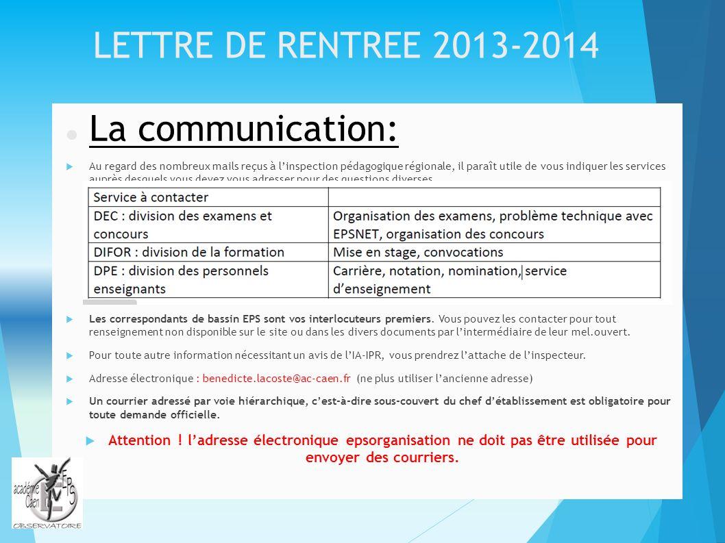 La communication: LETTRE DE RENTREE 2013-2014