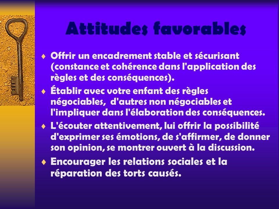 Attitudes favorables Offrir un encadrement stable et sécurisant (constance et cohérence dans l application des règles et des conséquences).
