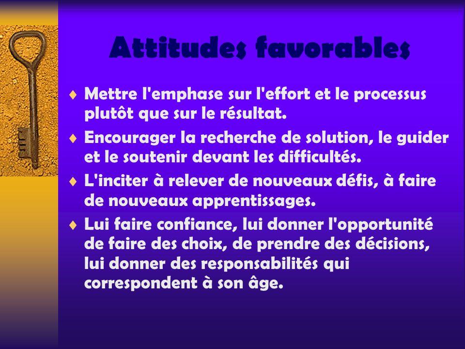 Attitudes favorables Mettre l emphase sur l effort et le processus plutôt que sur le résultat.