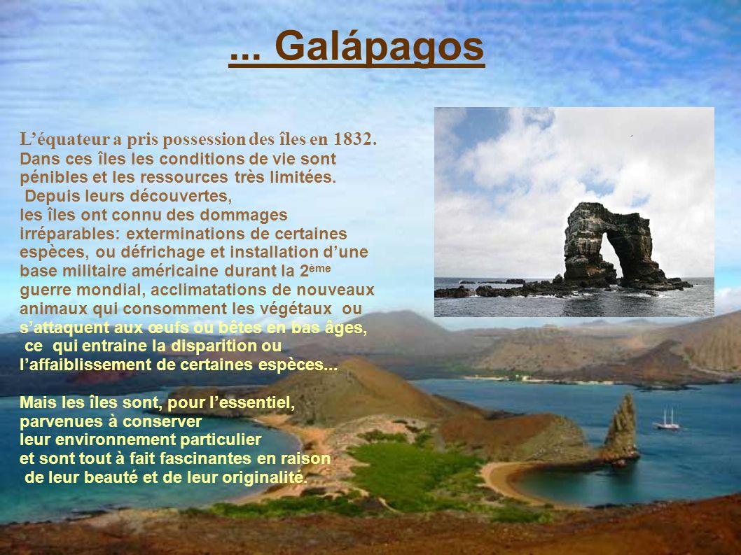 ... Galápagos L'équateur a pris possession des îles en 1832.