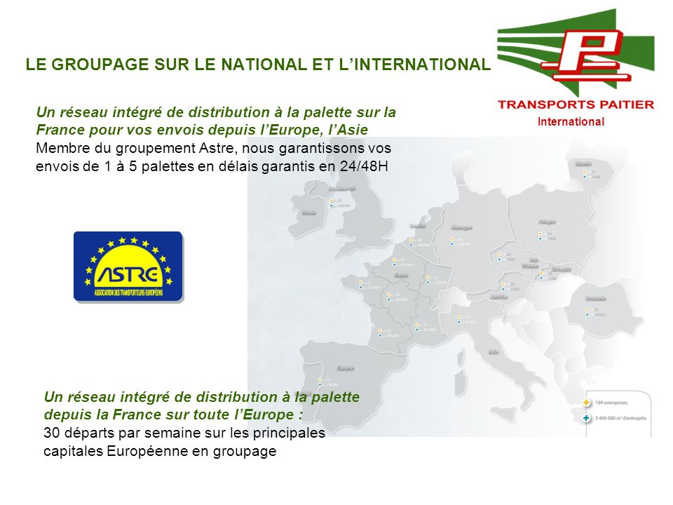LE GROUPAGE SUR LE NATIONAL ET L'INTERNATIONAL