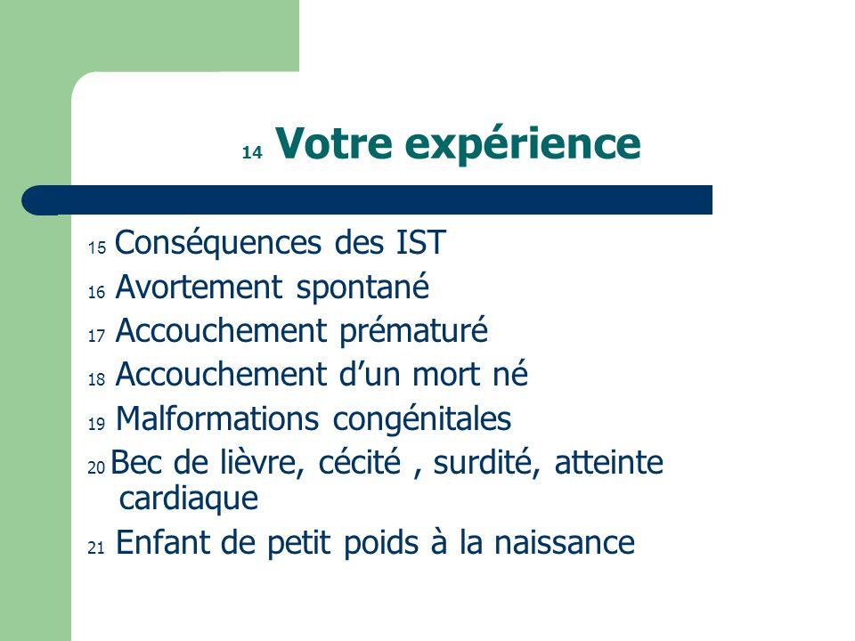 14 Votre expérience 15 Conséquences des IST. 16 Avortement spontané. 17 Accouchement prématuré. 18 Accouchement d'un mort né.
