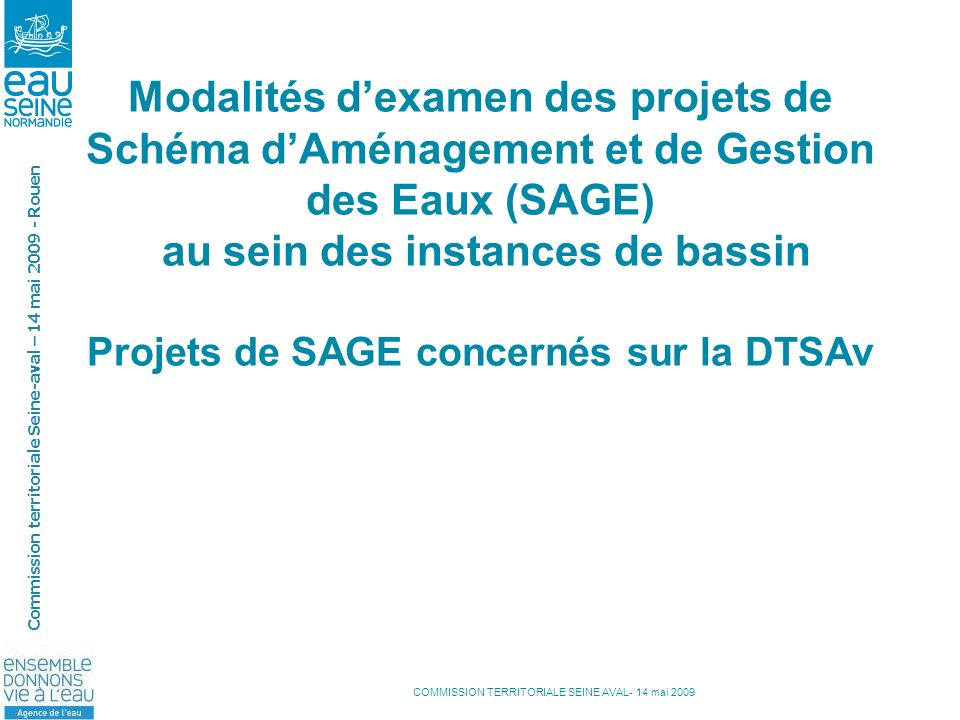 Modalités d'examen des projets de Schéma d'Aménagement et de Gestion des Eaux (SAGE) au sein des instances de bassin Projets de SAGE concernés sur la DTSAv