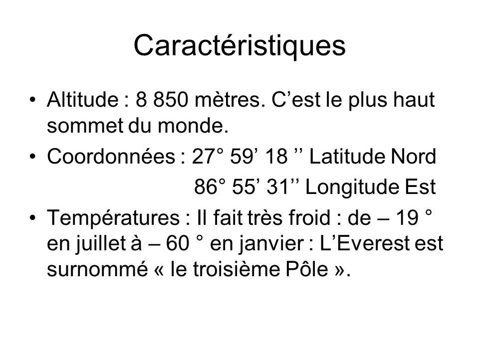Caractéristiques Altitude : 8 850 mètres. C'est le plus haut sommet du monde. Coordonnées : 27° 59' 18 '' Latitude Nord.
