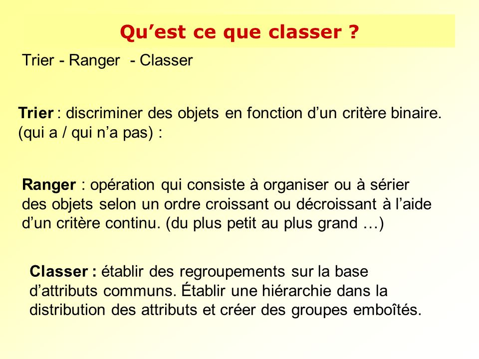 Qu'est ce que classer Trier - Ranger - Classer