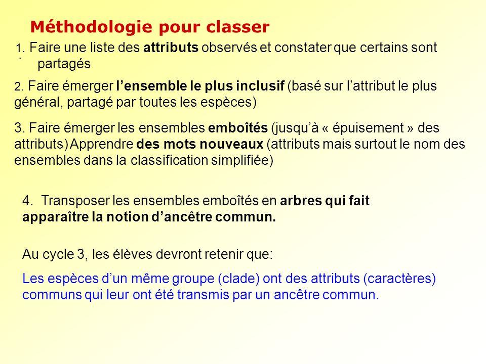 Méthodologie pour classer