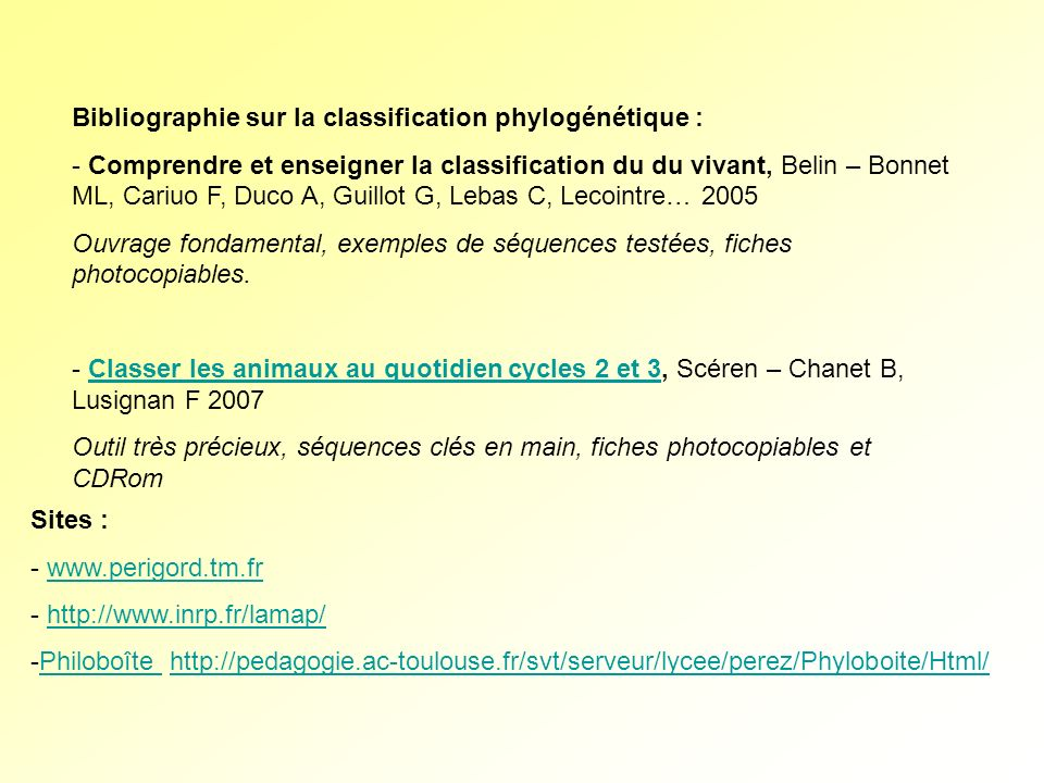 Bibliographie sur la classification phylogénétique :