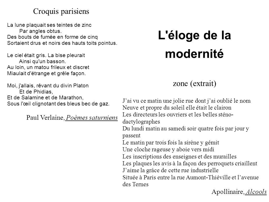 L éloge de la modernité Croquis parisiens zone (extrait)