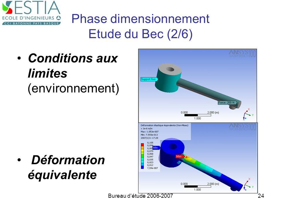 Phase dimensionnement Etude du Bec (2/6)