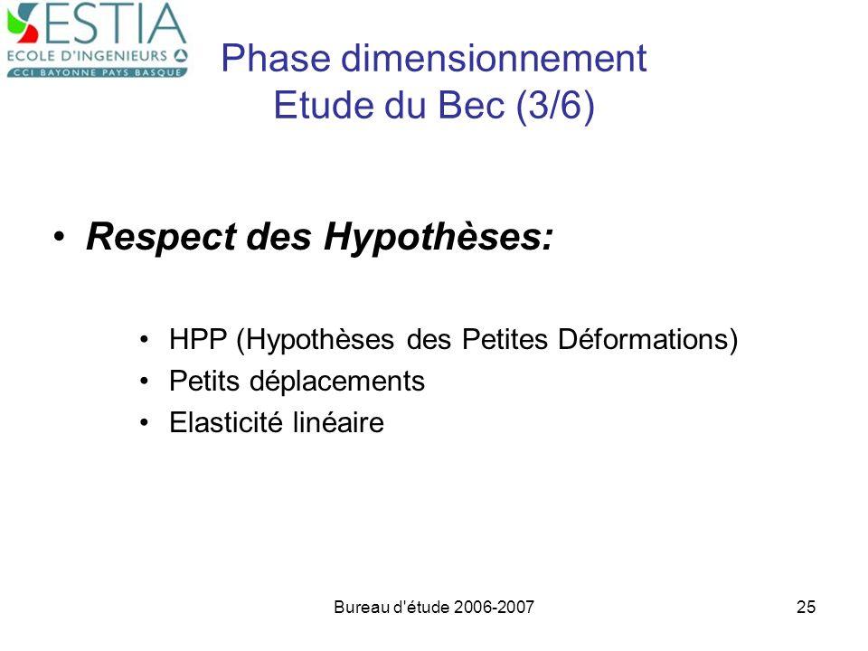 Phase dimensionnement Etude du Bec (3/6)