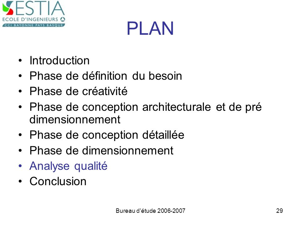 PLAN Introduction Phase de définition du besoin Phase de créativité
